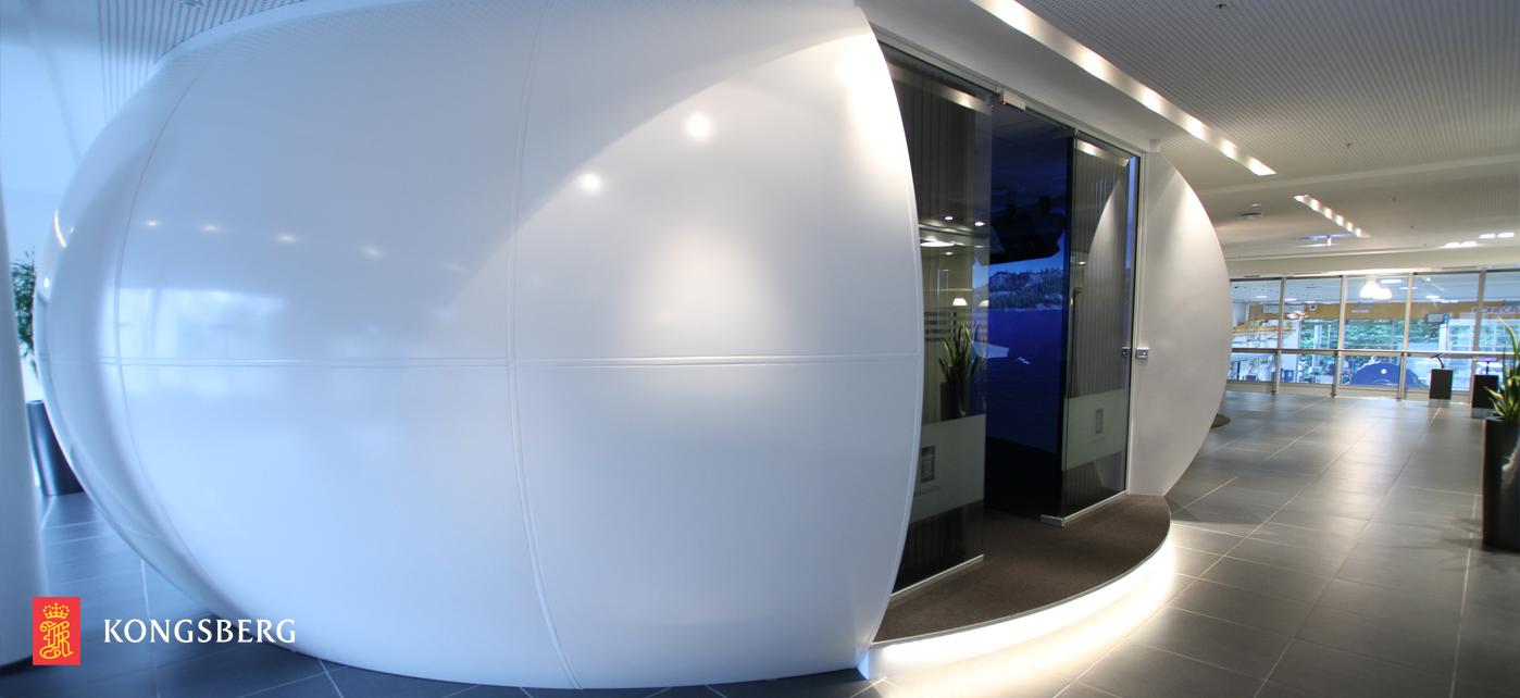 GRP 9m dia UFO simulator projection screen for multi user simulation training