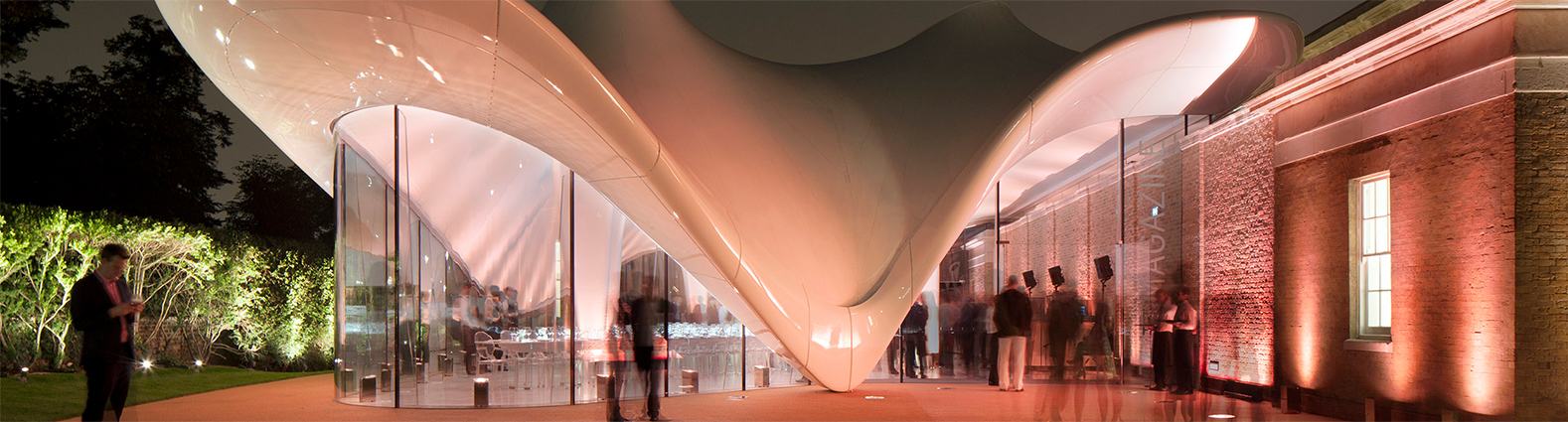 Serpentine Sackler Gallery organic GRP cladding allowing retention of stretched fabric roof