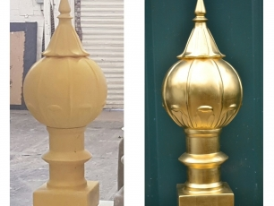 <p>​Small dome before and after gold leaf applied.</p>